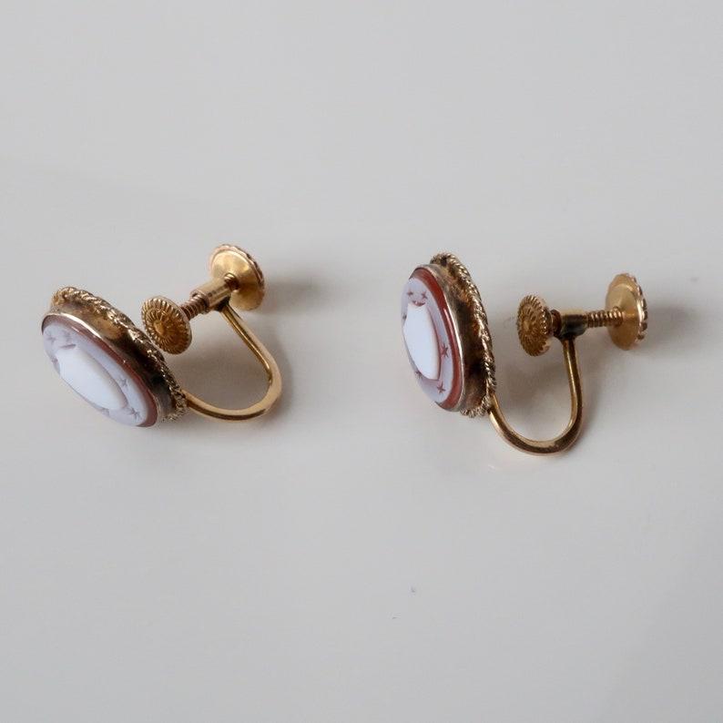 Antique earrings studs. 10kt gold cameo earrings Victorian earrings Antique jewelry earrings Vintage jewelry earrings