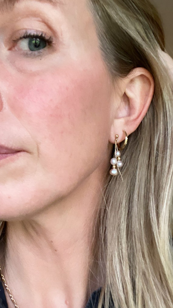 Vintage pearl and gold earrings. 14kt gold and pe… - image 4