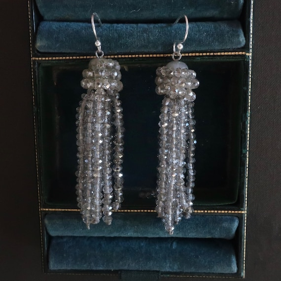 Vintage fringe earrings. Crystal iridesent earring