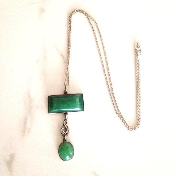 SALE//Antique Edwardian necklace. Aventurine drop