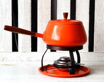1970s Orange Fondue Pot + Warmer Set Persimmon & Teak Fondue Maker Cheese Pan 70s Entertaining Orange Kitchen Decor Forks Also Available