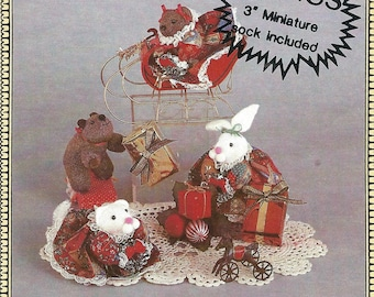 80s 90s Uncut Vtg PATTERN Sitting & Standing Animal Ornaments Cat Doll Pattern Bear Doll Bunny Doll Ornaments Holiday Decorations + Clothes
