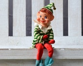 Large Christmas Elf Vtg 1960s Original Shelf Ornament Elf Decoration Shelf Sitter Elf Pixie Elf Felt Outfit Red Green Jingle Bell Felt Elf
