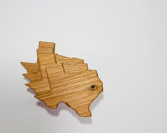 Crafted from Cherry or Maple Wood State Map Coaster All 50 States Available