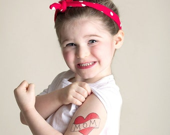 mother's day gift for her, gift from daughter, temporary tattoo, mom heart tattoo from baby, fake tattoo, tattoo for child photography prop