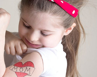 mother gift temporary tattoo for girls mom heart tattoo kids fake tattoo red heart mum tattoo for children mothers day photoshoot