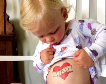 dad heart tattoo first father's day gift from daughter daddy's girl children red heart temporary tattoo kids tattoos funny fathers day
