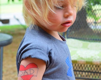 father's day gift kids tattoo dad heart temporary tattoo fake tattoo funny red heart tattoo for toddlers cute photoshoot prop daddy and son