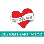 personalized temporary tattoo, mothers day gift, custom heart tattoo, fake retro tattoo red heart banner custom name tattoo, gift for mom