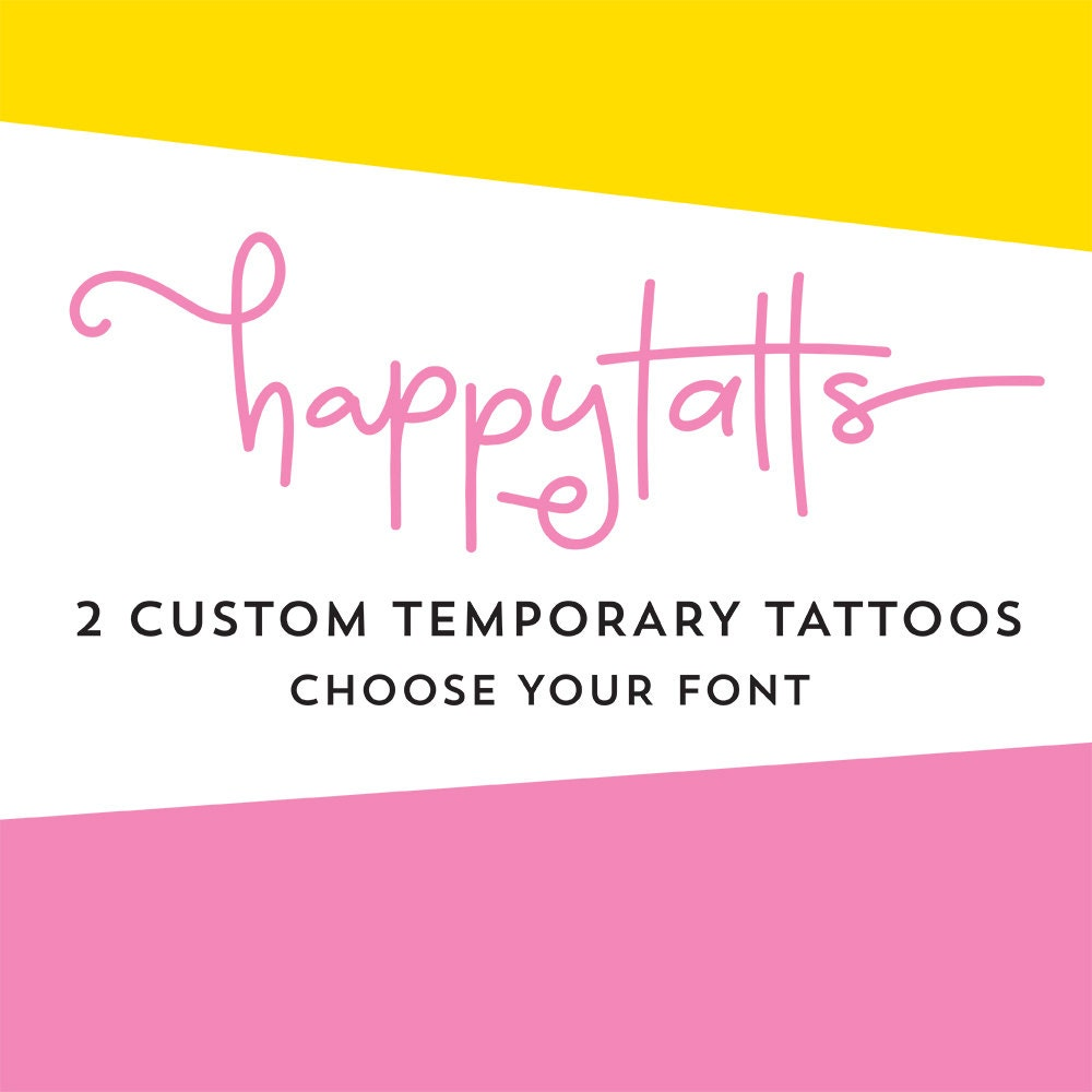 custom temporary tattoos choose your font personalized tattoo | Etsy