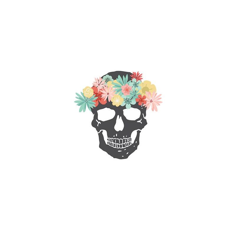 Skull Tattoos Flower Crown Skull Temporary Tattoo Floral Skeleton Tattoos Girly Skull Pirate Bones Sugar Skull Costume Temporary Tattoo 5