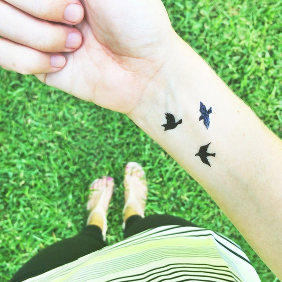 Tiny Bird Tattoos Flying Birds Temporary Tattoo Mothers Day Gift For Her Boho Tattoos Best Friend Fake Tattoos Small Sparrow Tattoo 2