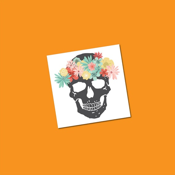 Skull Tattoos Flower Crown Skull Temporary Tattoo Floral Etsy