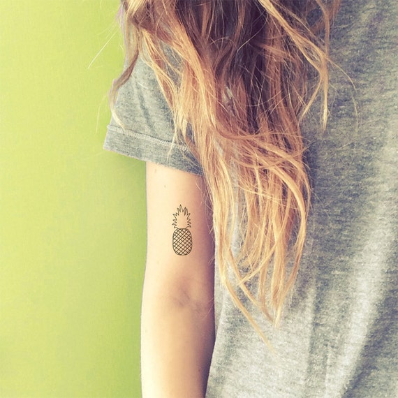 Pineapple Temporary Tattoos Tropical Fake Tattoos Best Friend Gift Quirky Pineapple Tattoos Matching Fruit Tattoos 4