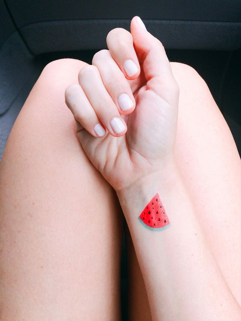 Watermelon Slice Tattoo Fourth Of July Party Favor Summer Etsy