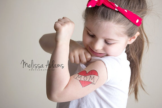 Mothers Day Gift Temporary Tattoo For Girls Mom Heart Tattoo Kids Fake Tattoo Red Heart Mum Tattoo For Children Mom And Son Photoshoot
