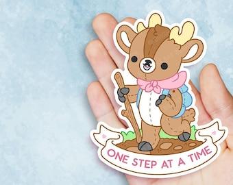 One Step At A Time Deer - Kawaii Vinyl Sticker - Self Care Plushie Pals