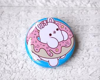 Kawaii Donut Bunny Nugget Pinback Button or Magnet