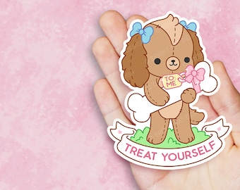 Treat Yourself Puppy - Kawaii Vinyl Sticker - Self Care Plushie Pals