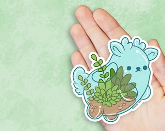 Kawaii Terrarium Deer Nugget Planter Vinyl Sticker