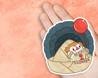 Kawaii Spooky Clown It Balloon Vinyl Sticker