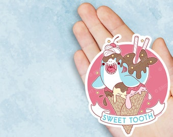Kawaii Sweet Tooth Shark Ice Cream Vinyl Sticker
