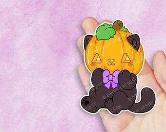 Kawaii Jackolantern Pumpkin Cat Sticker