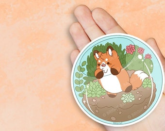 Kawaii Fox in Terrarium Planter Vinyl Sticker