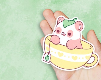 Kawaii Pink Tea Cup Panda Vinyl Sticker