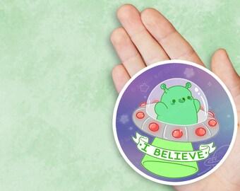 Kawaii I Believe Alien UFO Space Nugget Vinyl Sticker