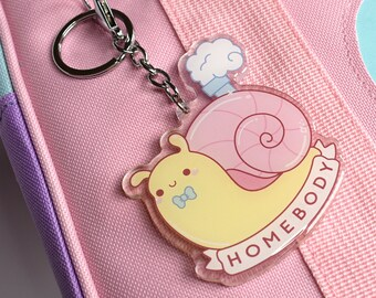 Kawaii Homebody Snail Charm Keychain