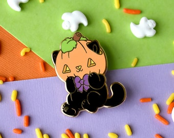 Cat Jackolantern Enamel Pin