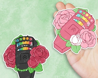 Kawaii EMF Detector Roses Sticker - Black and Pink