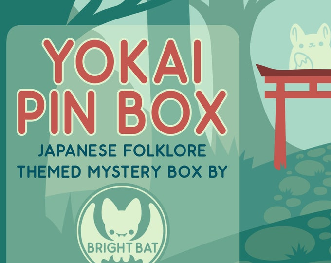Featured listing image: Kawaii Yokai Summer Pin Box - Mystery Stationery and Enamel Pin Box