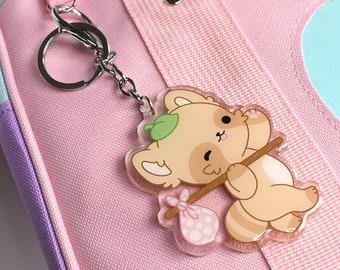 Kawaii Maple Tanuki Adventure Travel Charm Keychain
