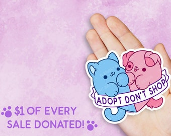 Kawaii Adopt Dont Shop Rescue Vinyl Sticker