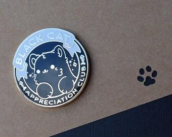 Kawaii Black Cat Appreciation Club Enamel Pin