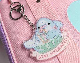 Stay Hydrated Shark - Kawaii Acrylic Charm Keychain
