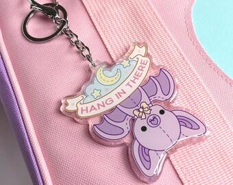 Hang In There Bat - Kawaii Acrylic Charm Keychain