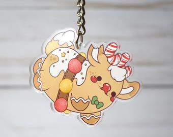 Kawaii Gingerbread Rudolph the Reindeer Nugget Acrylic Christmas Charm Keychain