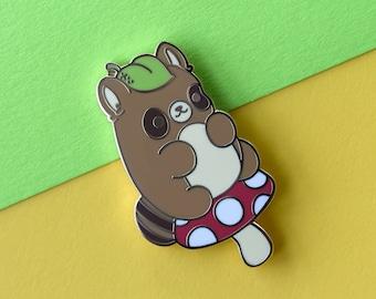 Kawaii Tanuki Raccoon Dog Nugget Enamel Pin