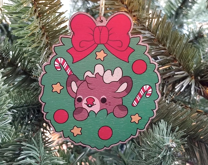 Featured listing image: Kawaii Rudolph the Reindeer Nugget Wooden Christmas Tree Ornament