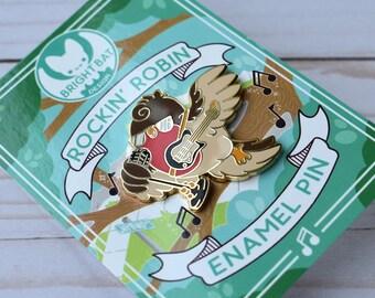 Kawaii Rockin Robin Retro Enamel Pin
