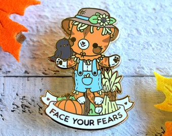 Face Your Fears Scarecrow Cat - Kawaii Enamel Pin - Self Care Plushie Pals