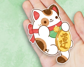 Kawaii Maneki Neko Lucky Cat Nugget Sticker