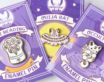 Kawaii Occult Cuties Ouija Board Bat , Occult Cat and Paw Reading Enamel Pin Set  ( White and Pink Versions )