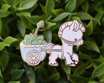 Kawaii Pony Cart Planter Enamel Pin