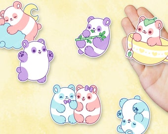Kawaii Pastel Panda Nuggets Sticker Set