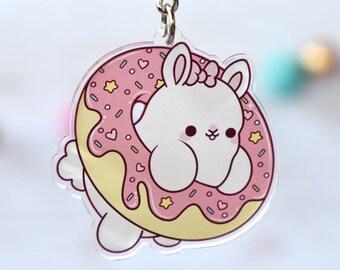 Kawaii Donut Bunny Nugget Acrylic Charm Keychain