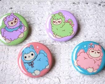 Kawaii Alpaca Llama Nugget Pinback Buttons or Magnets